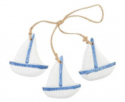 22cm Nautical Wood Blue White Boat Mobile Wall Hanging Decor Sea