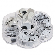 Tangc 128pcs Sew-on Wiggly Wobbly Googly Eyes Scrapbooking Crafts 8-24mm