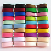 Chenkou Craft 20Yards 1cm Single Face Polyester Ribbon 20 Colours Assorted Bulk Lots Mix