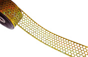 ACI PARTY AND SPIRIT ACCESSORIES Honeycomb/Punchinella Holographic Ribbon, Gold