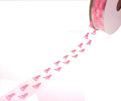 ACI PARTY AND SPIRIT ACCESSORIES Clear Ribbon with Pink Footprints, 27 Yd. Roll