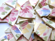 70 Floral Mosaic Tiles, Broken China Mosaic Pieces, Ceramic Mosaic Tiles, Mosaic Art Supplies, Tile Mosaic Supply, Mosaic Craft Tiles, Broken Dish Pieces, Green and White Stripes