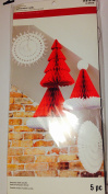5 piece honeycomb fold out ceiling Christmas decor Red White