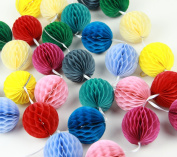 SUNBEAUTY Set of 30 5.1cm Mixed Colour Tissue Paper Honeycomb Balls Hanging Decorative Balls for Baby Shower Party Home Decor