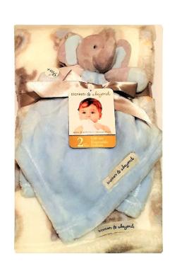 Blankets and beyond plush Elephant & Owl Nunu and Blanket Baby Infant Gift ensemble