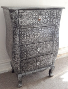 Lounge Lizard Black and Silver Embossed metal 4 drawer chest of drawers