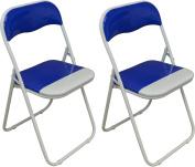Harbour Housewares Blue / White Padded, Folding, Desk Chair - Pack of 2