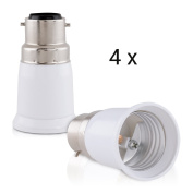 kwmobile 4x lamp socket adapter converter B22 bulb socket ot E27 bulb socket for LED-, Halogen-, Energy saving lamps