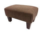 Luxury upholstered footstool in Hopsack brown chenille and mahogany wooden legs...If you see any other fabric you like in my other items including jumbo cords and chenilles please ask as we can make this foot stool pouffe in most fabrics.