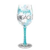 "Enesco Lolita Wine Glass ""Happily Engaged, Glass, multicoloured, 12 x 19 x 22.5 cm"