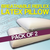 Sleepkings Quality Reflex Latex Pillows - Natural & Breathable - Inc. FREE Cover - Pack of 2
