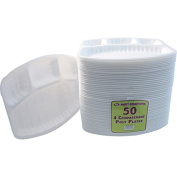 50 POLYSTYRENE COMPARTMENT / SECTION TRAYS (4 SECTIONS) Ideal for hot and cold food  .