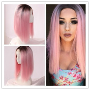 Warma Hair 36cm Heat Resistant Synthetic Hair Lace Front Wig Bob Straight Ombre 1B/Pink