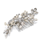 MEiySH Bridal Hair Side Comb with Hand Painted Sliver Leaves, Freshwater Pearls and Crystals,Headpiece Wedding Accessories
