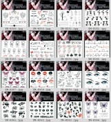 Wonbeauty 16pcs Fake and real temp tattoo stickers in a package,it including hearts,footprints,leaves,cats,electrocardiogram,bears,trees,butterflies,lips,eyes,Halloween boo,etc.