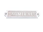 Chrome Admiral Sign 15cm - Beach Home Accent - Nautical Chrome Wall Sign