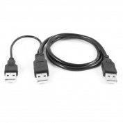 USB 2.0 Type A Male to Dual USB A Male Y Splitter Cable Cord Black
