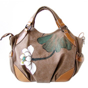 KAXIDY Canvas Messenger Bags Hand-painted Flowers Hobos Shoulder Bag Totes Cross-Body Bag Satchels