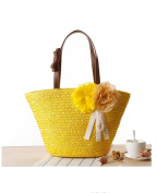 Flada Women's Weave Beach Handbags Straw Bags for Girls With Flowers
