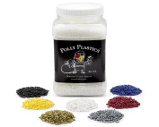 Polly Plastics Moldable Plastic and Colour Pellet Kit. 1040ml Moldable Plastic. Blue, Red, Yellow, Black, White, Gold, Silver. Idea Booklet & Colour Chart Included.