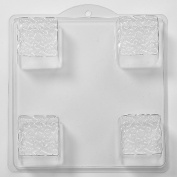 4 Cavity Embossed Knot On A Square Soap/Bath Bomb Mould Mould I04 x 10