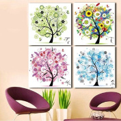 Cross stitch, tree, spring, summer, autumn and winter, 4 pairs, C0001