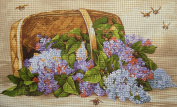 """Needlepoint Kit """"Basket with Lilac"""" 19.7""""x11.8"""" 50x30cm printed canvas 642"""