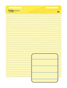 Wholesale CASE of 5 - 3M Post-it Faint Rule Easel Pad-Easel Pad,Self-stick,Lined,30 Sheets,60cm x 80cm , 2/CT, Yellow
