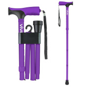 Folding Cane by Vive - Walking Cane for Men & Women - Collapsible, Lightweight, Adjustable & Portable Walking Stick Mobility Aid - Sleek Look & Comfortable Handles - Lifetime Guarantee