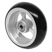 Caster Tyre (1) 10cm X 3.8cm , Frog Legs, Aluminium 3-spoke, Black Soft-roll Tyre, 0.8cm Bearing, 2.5cm Hub for Powerchair Wheelchair by TAG