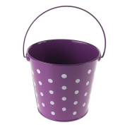 Firefly Imports FCF041962PUR Polka Dot Metal Pail Buckets Party Favour, 13cm , Purple