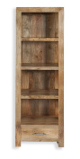 Cube Mango Wood Bookcase with Drawer / Solid Mango Wood Unit Bookcase with 3 Shelves 1 Drawer / Modern Living Room Furniture