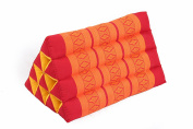 Thai Triangle Pillow with natural kapok filling, Red & Orange