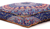 Indian Mandala Floor Pillow Square Ottoman Pouffe Daybed Oversized Cushion Cover Cotton Seating Ottoman Pouffes Dog / Pets Bed Sold By Handcraft-Palace