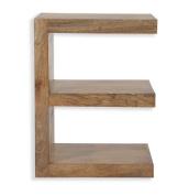 Cube Mango Wood E Shaped Display Unit / End Table / Solid Mango Wood Unit / Side Table / Modern Living Room Furniture
