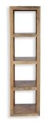 Cube Mango Wood Large Tall Display Unit / Solid Mango Wood Unit With 4 Shelves / Modern Living Room Furniture