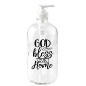 God Bless Our Home 470ml Glass Soap Dispenser