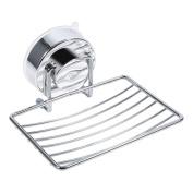 Soap Dish Holder for Shower or Bath-Strong Suction Removable Soap Dish Sponge Holder Basket Tray Bathroom Kitchen Soap Organiser Rack for Bathroom and Kitchen