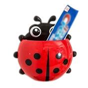 Drasawee Cute Ladybug Wall Suction Toothbrush Holder Bathroom Toothpaste Storage Red