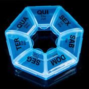 Zeroyoyo 7 Day Pill Box Weekly Round Box Medicine Pill Vitamin Tablet Case Container Storage Holder Blue