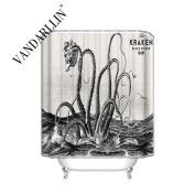 Kraken Attack Polyester Fabric Bathroom Shower Curtain, 180cm x 180cm Long,, Black And White