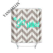 Funny Quotes Chevron Shower Curtain for Bathroom, 72 x 72, Get Naked Heart Design for Home Accessories, Waterproof,Mildew Resistant, Grey Mint Cream