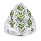 Sterling Silver 1.00ct Green and White Diamond Fashion Ring