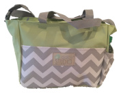 In-Obeytions Baby Nappy Bag-Weekender Tote- . Design with Adjustable Straps- Green Chevron Srips