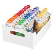 mDesign Storage Organiser Bins for Lotion, Baby Shampoo, Powder, Wipes - 25cm x 13cm x 36cm , White