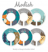 Modish Labels Baby Nursery Closet Dividers, Closet Organisers, Nursery Decor, Baby Boy, Woodland, Fox, Bear, Owl, Hedgehog