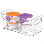 mDesign Baby Food Organiser Bin with Handles for Breastmilk Storage Bags/Formula - Clear