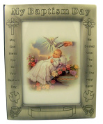 Pewter My Baptism Day Photo Album Picture Frame with Certificate, 17cm