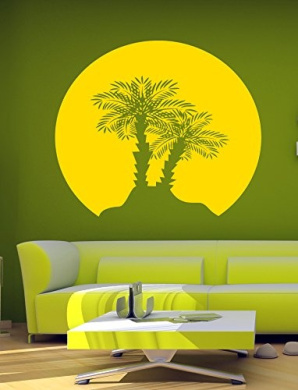 Wall Vinyl Sticker Decals Mural Room Design Decor Art Palm Tree Sunset Beach Nature bo2347