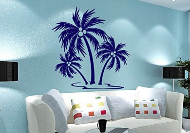 Wall Vinyl Sticker Decals Mural Room Design Pattern Art Decor Palms Tree Beach Summer Coconut bo2221